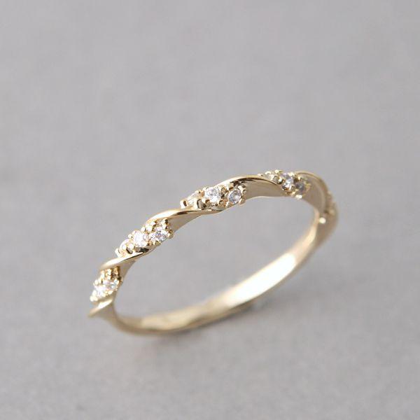 CZ Elegant Single Ribbon Ring Gold Wedding Wedding ring and