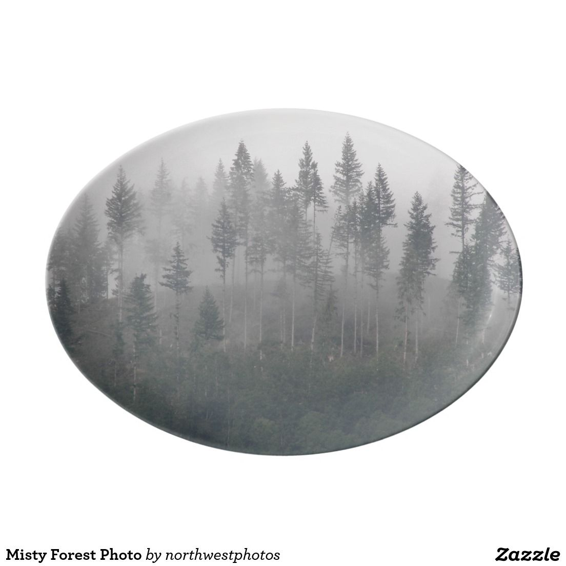 Misty Forest Photo Porcelain Serving Platter Misty Forest