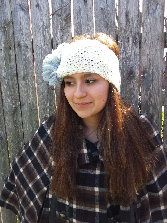 Ruffle Ear Warmer Winter Headband  Lace Ivory Grey Gray Headband Knit Turban Head Wrap #crochet #turban