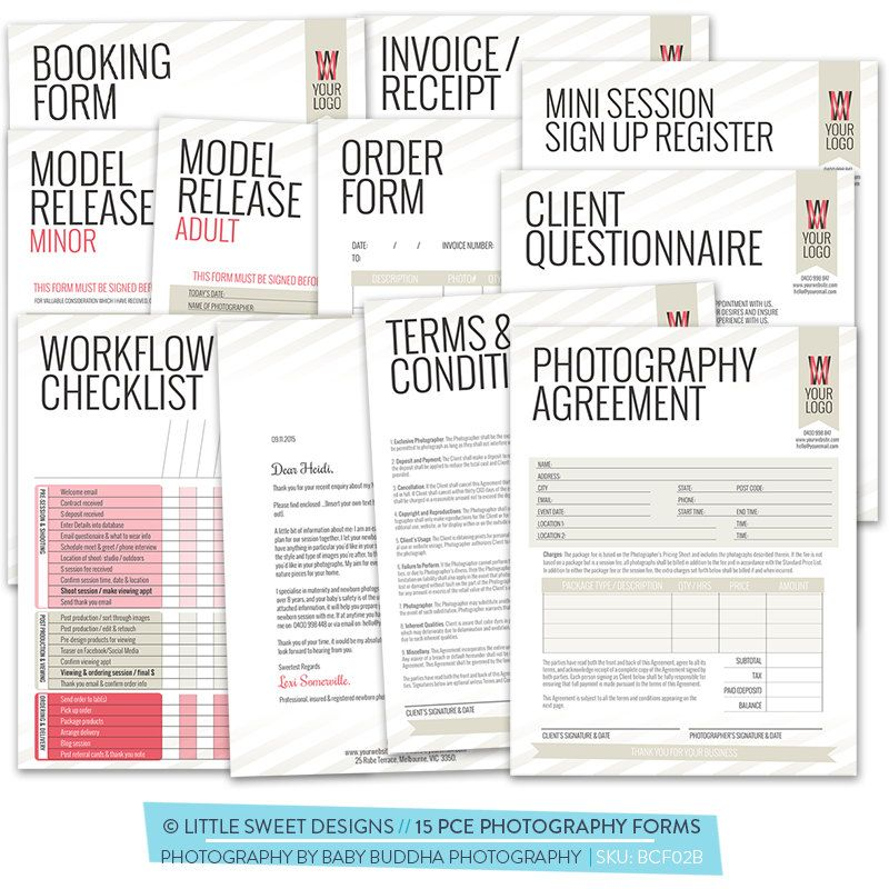 15 pce Photography Business  Client Forms - Photoshop Template for