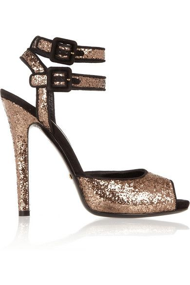 GUCCI Suede-trimmed glitter-finished sandals (and they are on sale!)