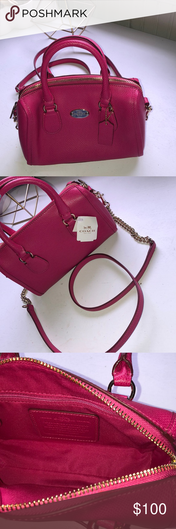 9663246ec2a coach mini purse mini leather pink ruby purse with gold chain and logo with  detachable strap Coach Bags Mini Bags