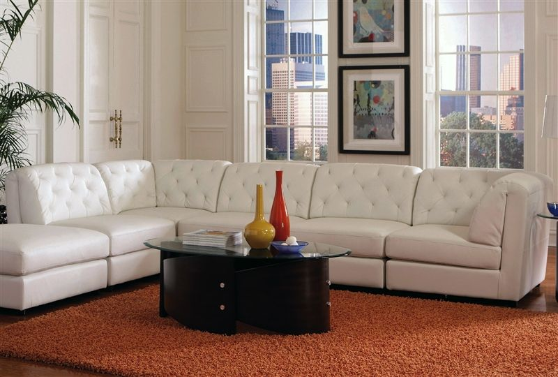 Cool Quinn 5 Piece White Leather Sectional By Coaster 551021 Machost Co Dining Chair Design Ideas Machostcouk
