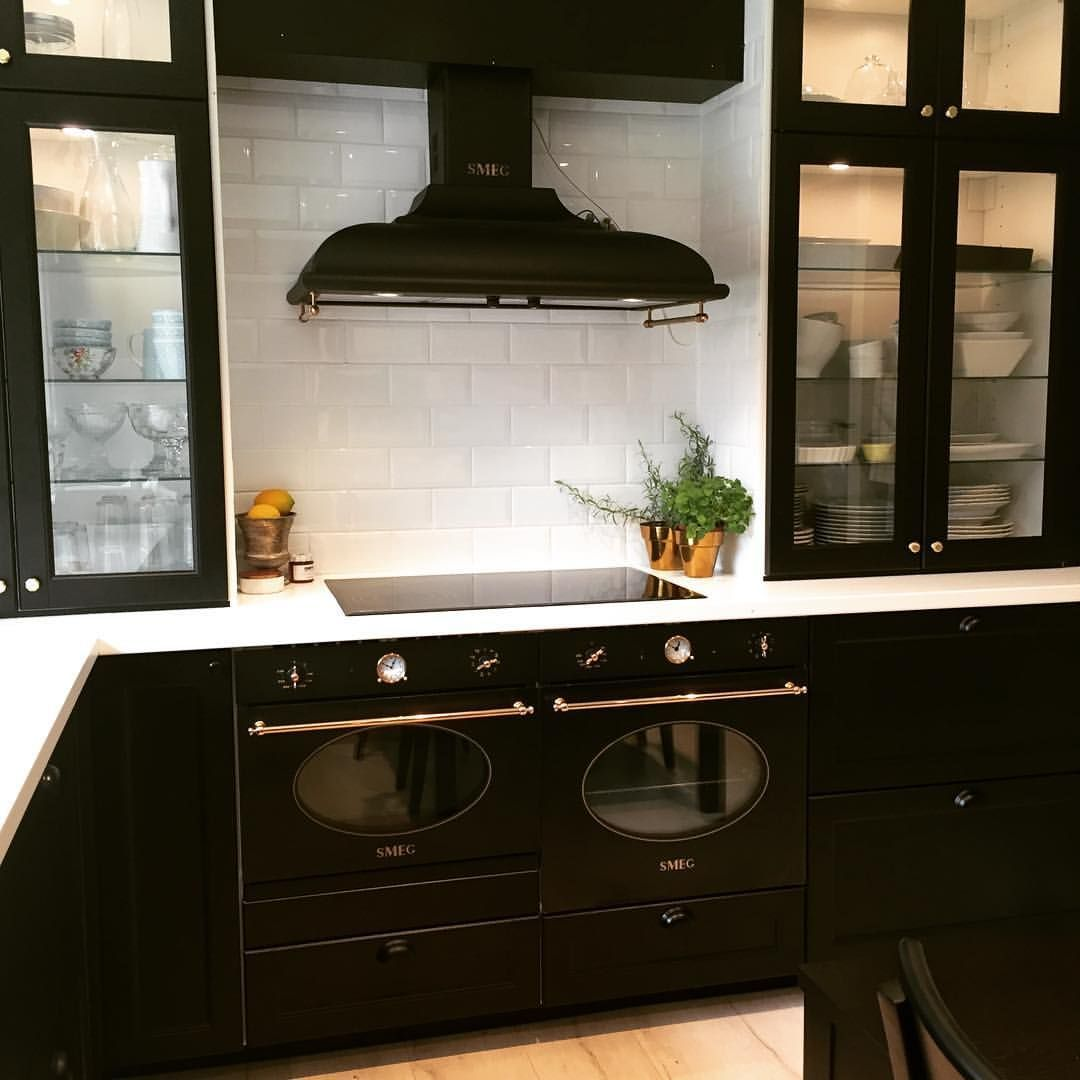 Smeg Range Hood And Ikea Laxarby Cabinets Ikea Kitchen Design Black Ikea Kitchen Home Kitchens