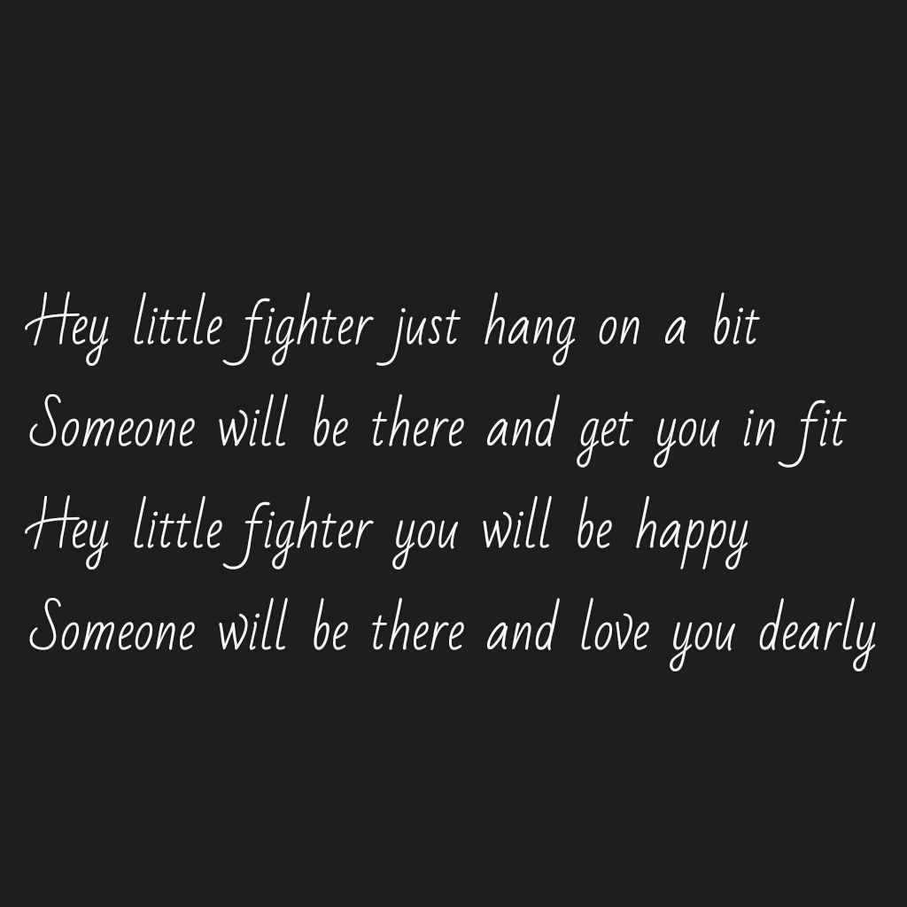 Hey little fighter..