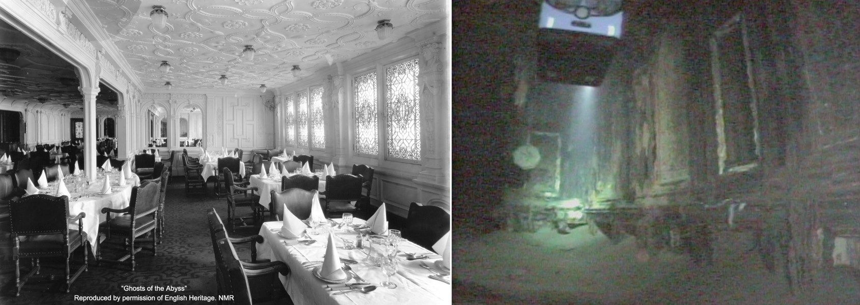 titanic diningroom in 1912 and now. | photo history | pinterest