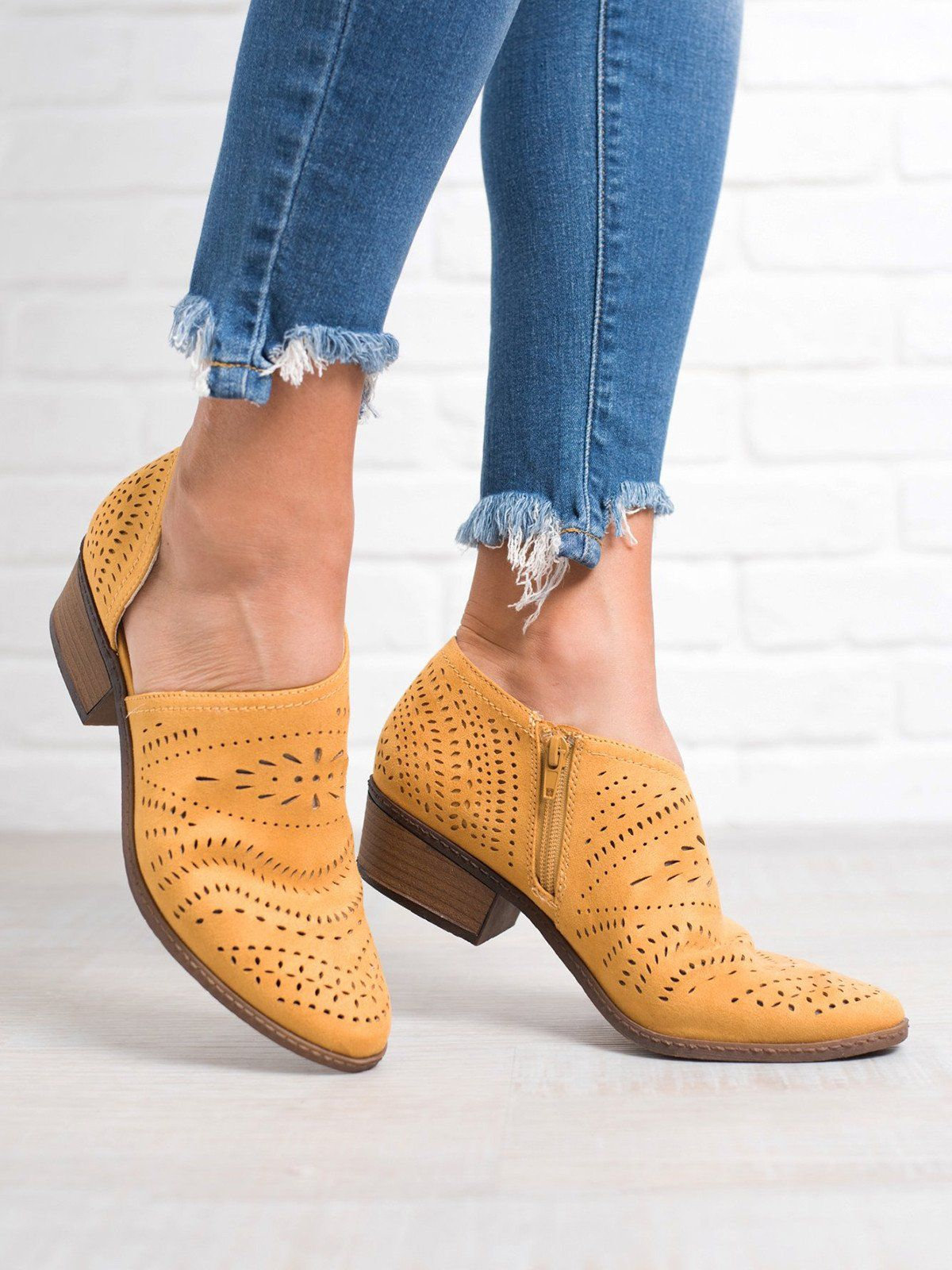 Hollow Out Low Heel Cutout Booties Faux Suede Zipper Ankle