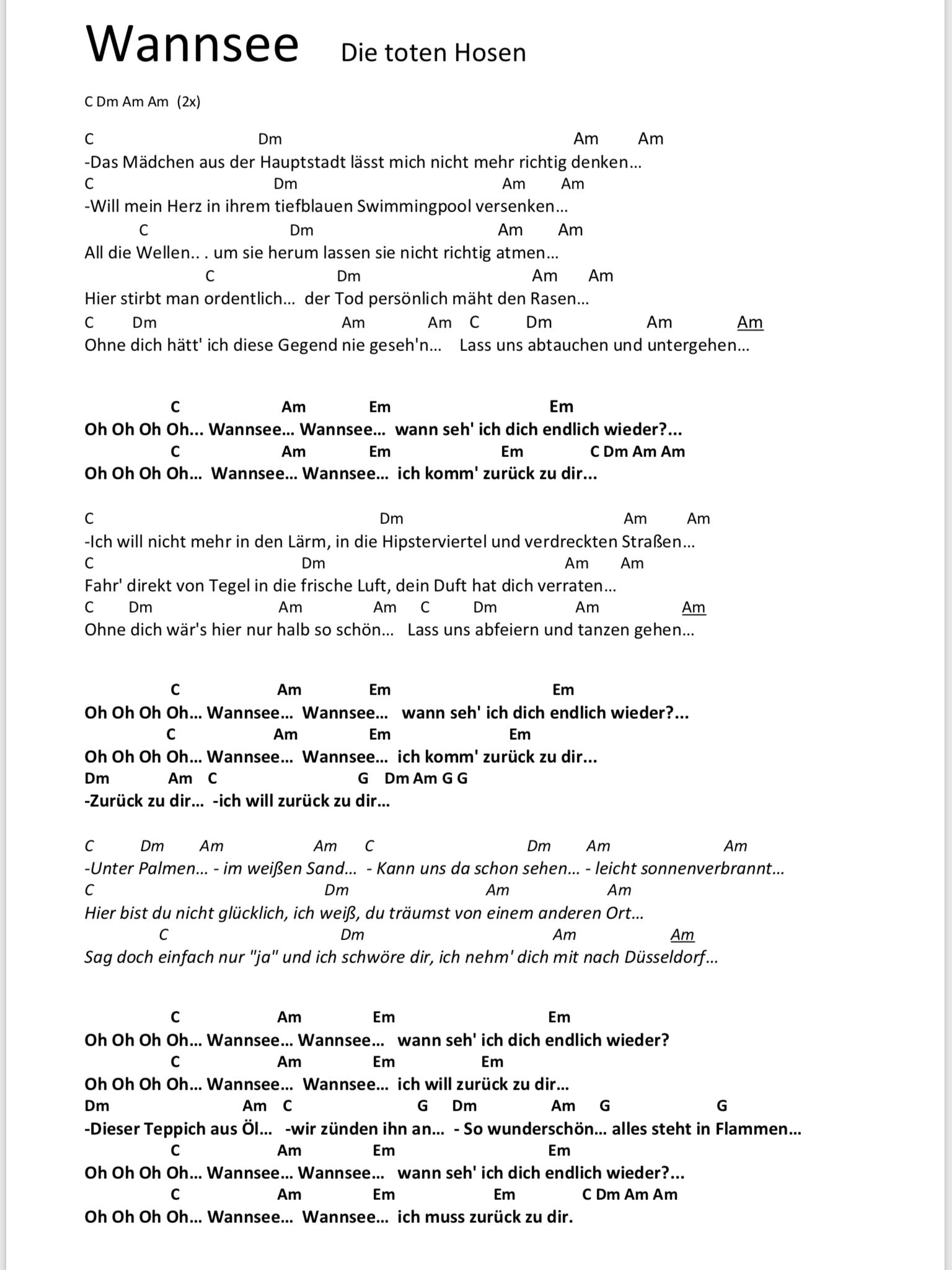 Wannsee Songtext Und Akkorde Gitarren Songs Gitarre Lieder Gitarren Akkorde