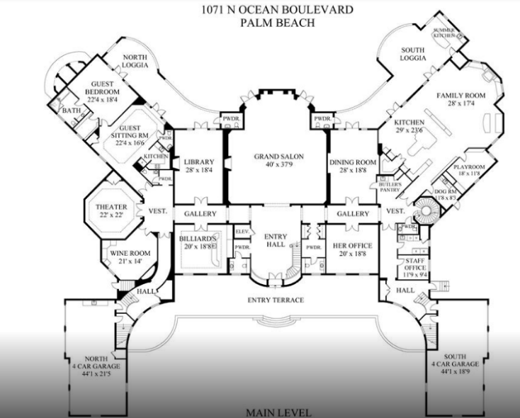 Oceanfront Mega Mansion In Palm Beach Re Listed For 59 9 Million Floor Plans Homes Of The Rich Beach Mansion Palm Beach How To Plan