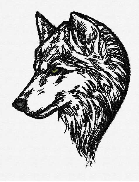 Wolf Head Outline Embroidery Pattern Machine By Mountainembdesigns
