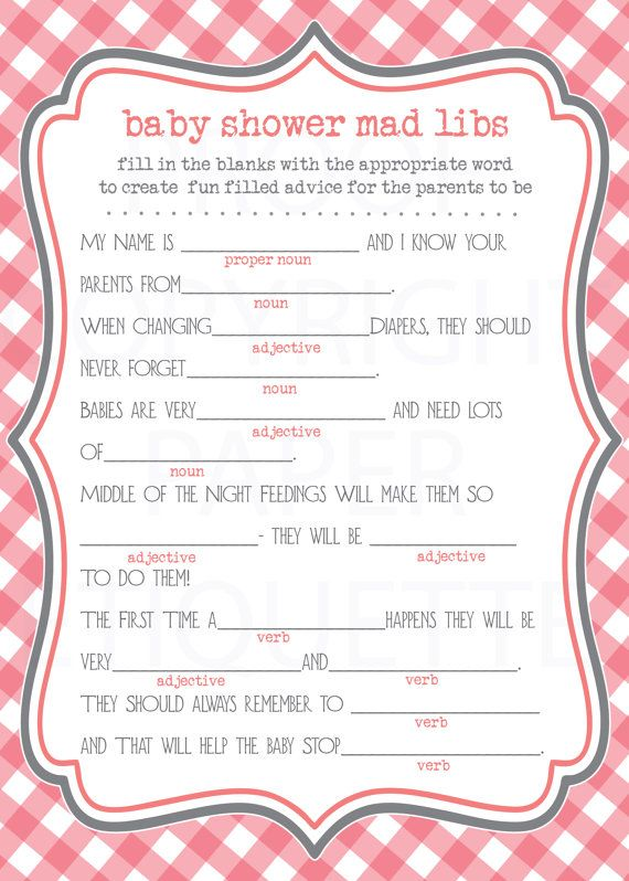 INSTANT UPLOAD Baby Shower Game Mad Libs By PaperEtiquette, $5.50