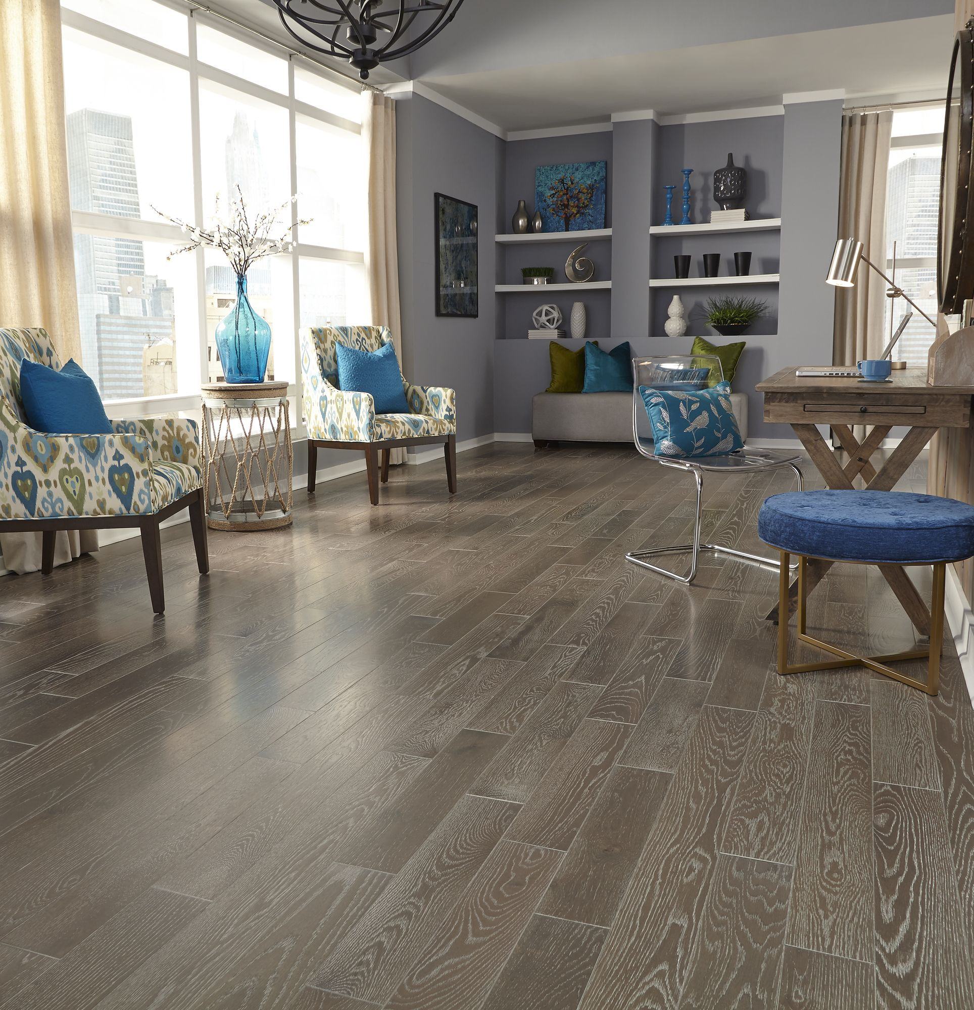 Living Room Hardwood Floor: The Color Gray Is Anything But Boring. Available In A Wide