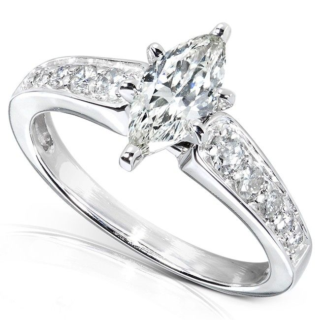 Marquise Diamond Engagement Ring 1 1 10 Carats Ctw In 14k White Gold Drooooo Marquise Diamond Engagement Ring Marquise Diamond Ring Engagement Rings Marquise