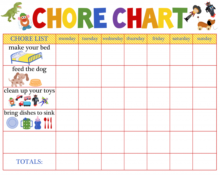 Free Behavioral Aid Printables Chore chart for toddlers