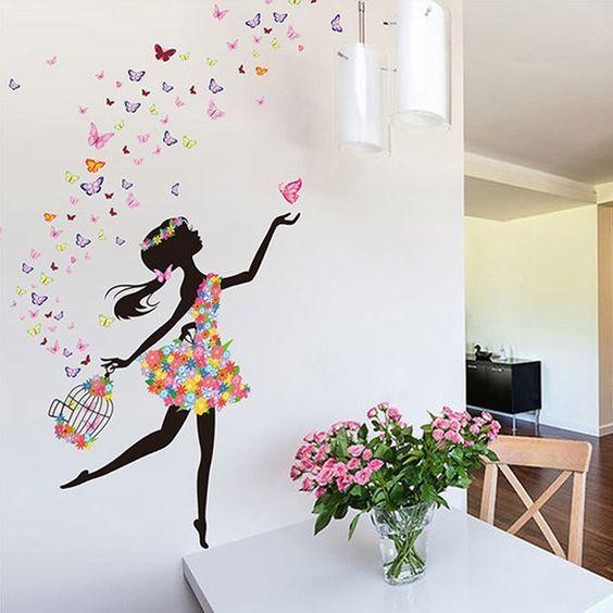 Moderne DIY Decoratieve Muurschildering PVC Meisje Vlinders Bloem ...