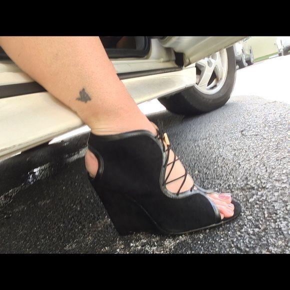 Victorias Secret Black wedge shoe 8.5 leather New in box size 8.5 VS Angel collection Victoria's Secret Shoes Wedges