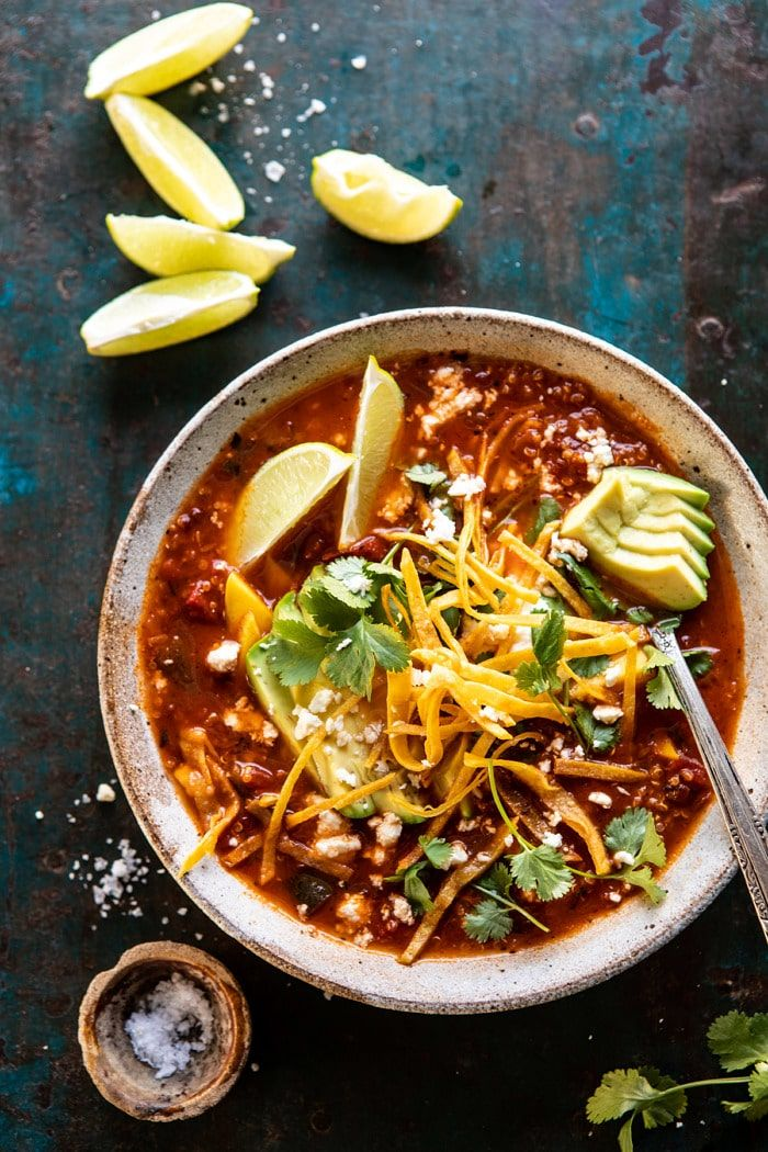Crockpot Spicy Vegetarian Tortilla Soup with Quinoa images