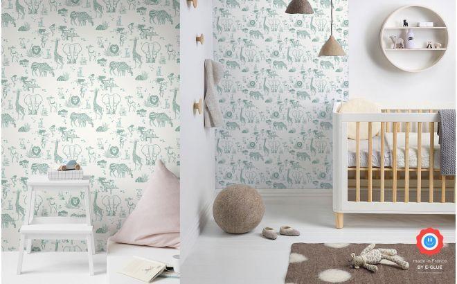 Papier peint enfant animaux jungle – gris vert