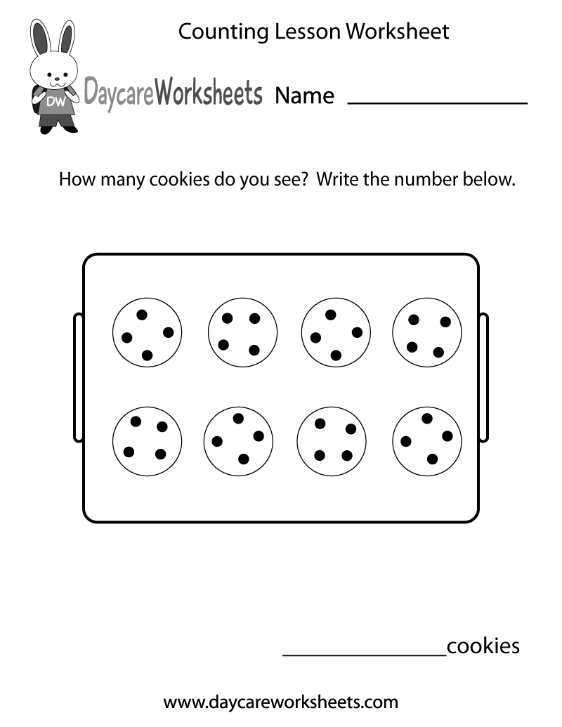 In this fun counting lesson worksheet preschoolers have to count cookies  and write the number they