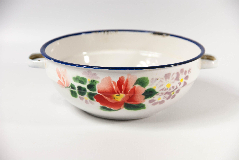 Farmhouse Cream French Antique  40s Kitchen Bowls Vintage Enamel Green Enamel Bowls Enamelware Enamelware 1940s