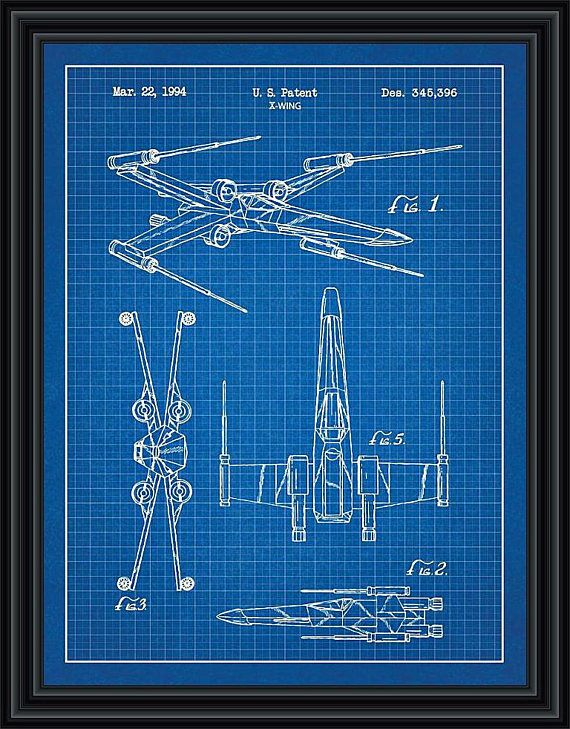 Star wars x wing fighter patent blueprint poster x wing fighter star wars x wing fighter patent blueprint poster x wing fighter vintage patent reproduction blueprint printed on hp 220gms glossy photo paper to a4 malvernweather Images