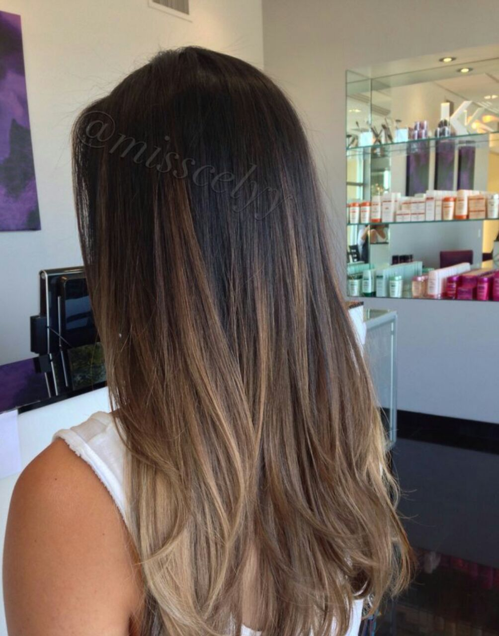 Brown Natural ombre straight hair pictures forecast to wear for autumn in 2019