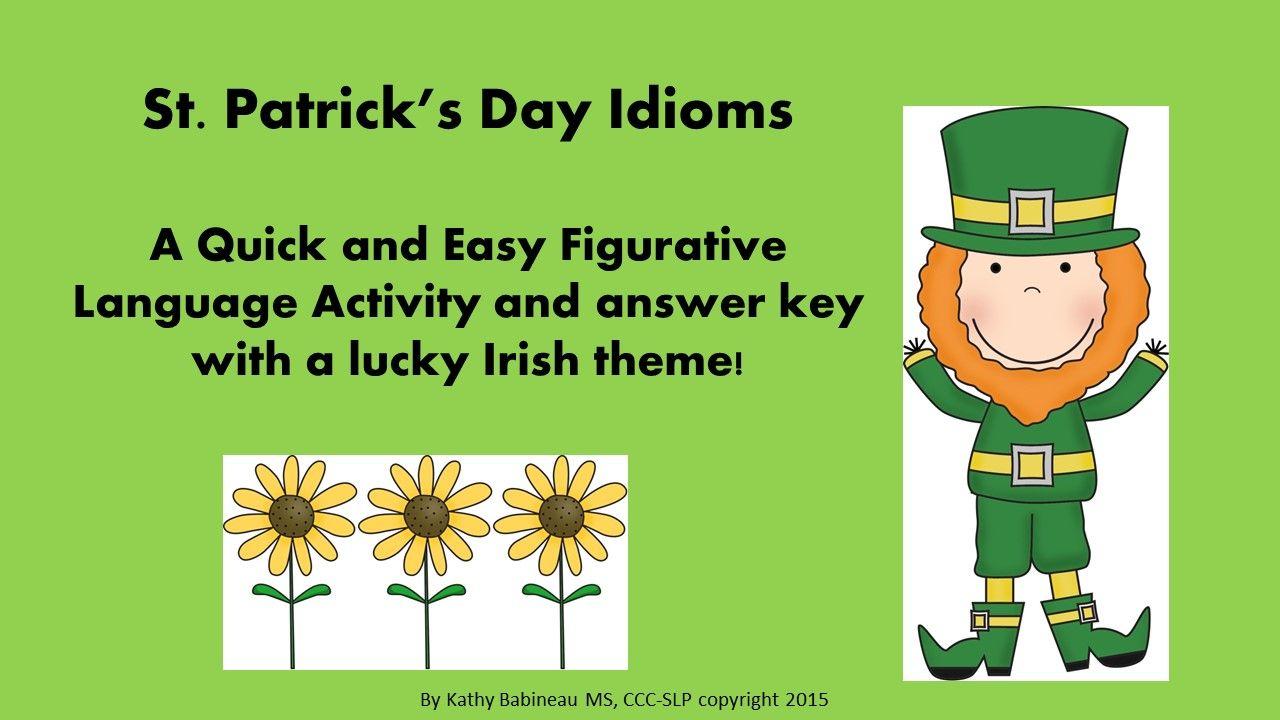 St. Patrick's Day Idioms Figurative language activity