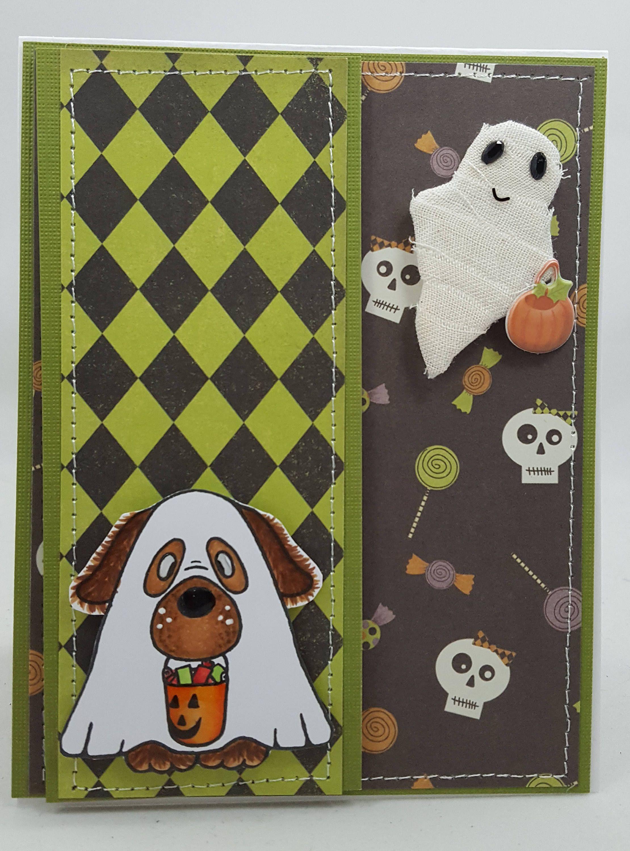 halloween trick or treat dog blank notecard greetings card