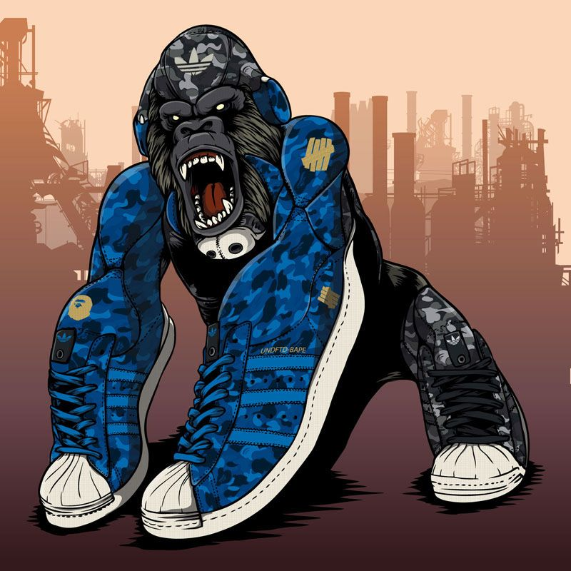 BAPE x UNDFTD x Adidas Originals Superstar 80s artwork on