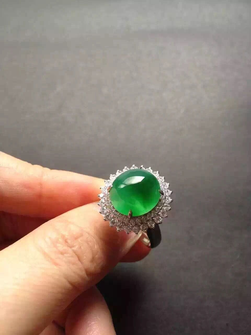 Gorgeous clear icy royal green jade wedding ring 5K Jade Precious Gem