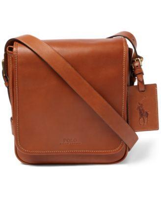 Polo Ralph Lauren Men S Compact Messenger Bag In Congac Modesens Leather Messenger Bag Men Messenger Bag Men Messenger Bag