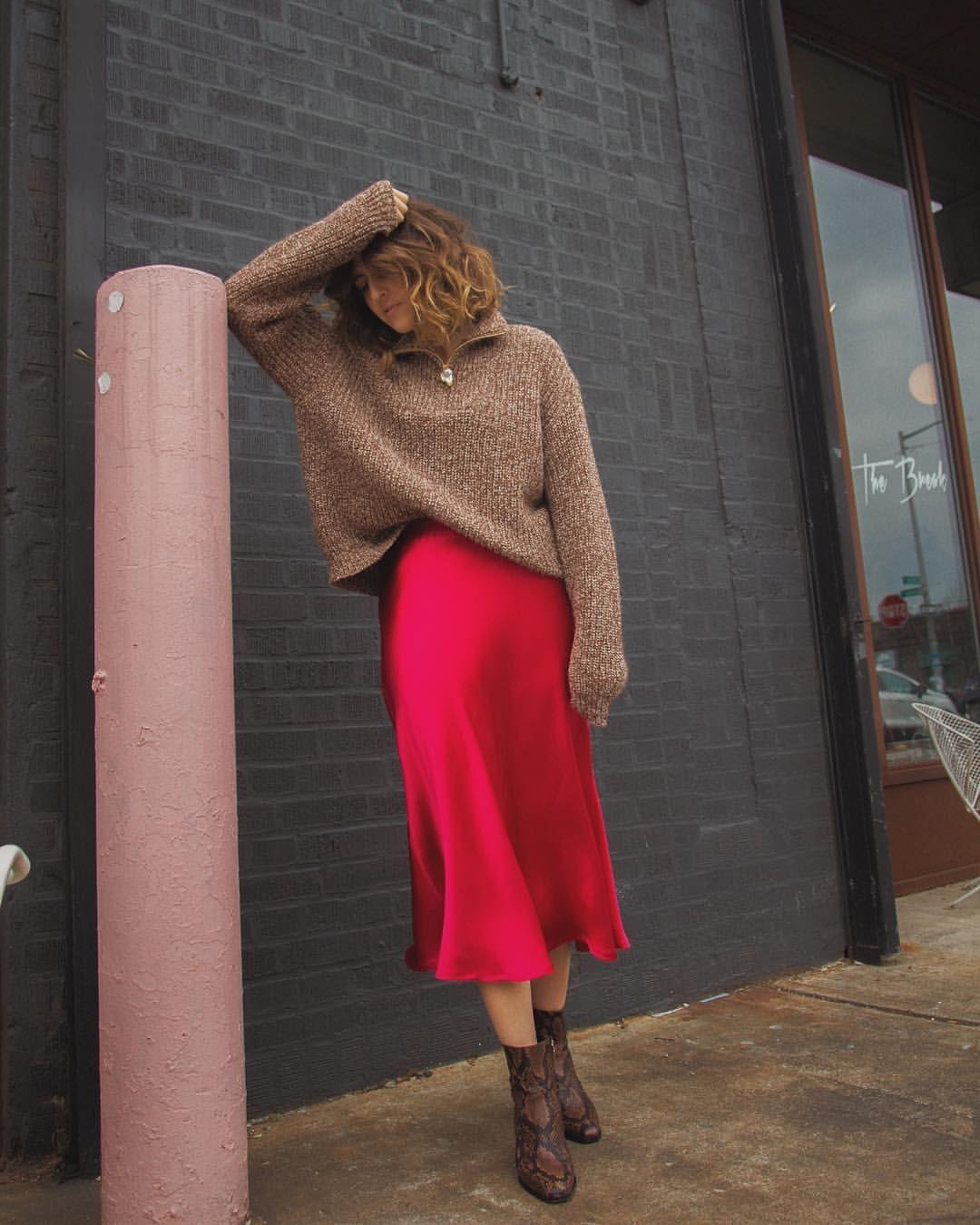 33b0cb770 Nanushka Knit and Zara Silk Pink Skirt. | style in 2019 | Satin midi ...