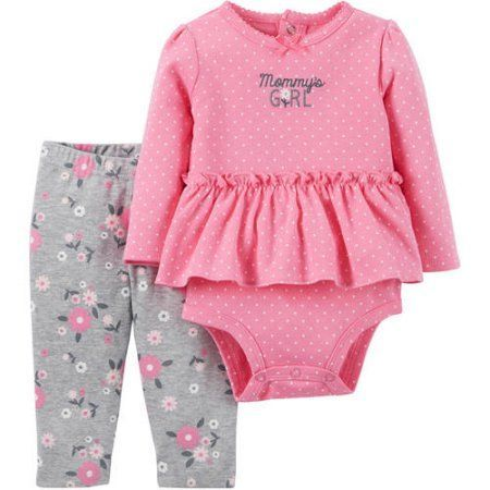 be9144338 Child of Mine by Carter's Newborn Baby Girl Ruffle Bodysuit and Pant Outfit  Set - Walmart.com