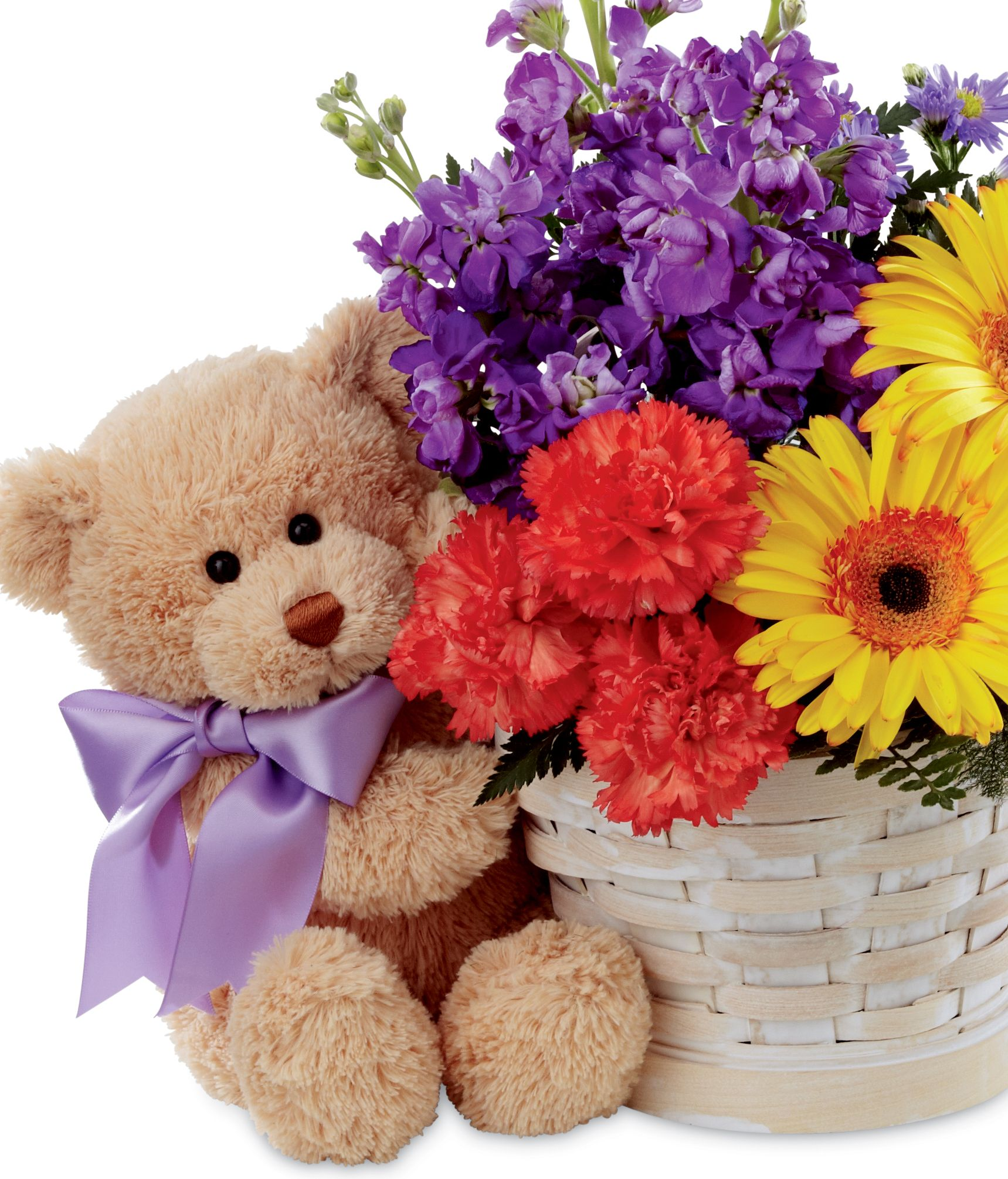 Best Year Floral Basket 3 Flowers Teddy Bear Ositos Rosas Y