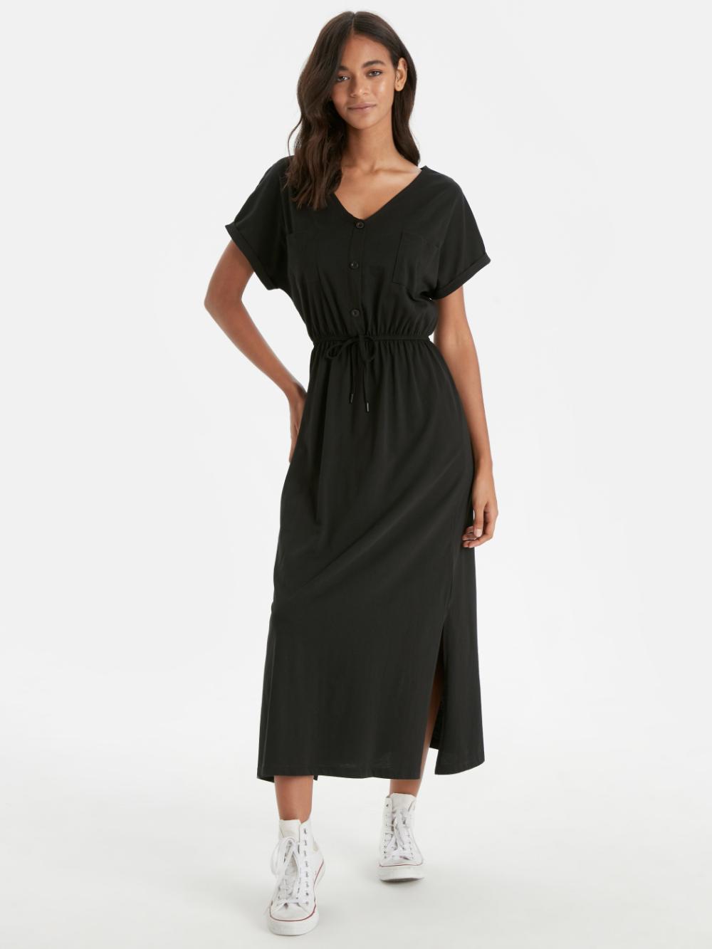 Siyah Beli Lastikli Pamuklu Elbise Lc Waikiki Elbise Moda Stilleri Mankenler