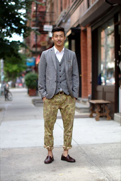 e6a10deaf0674 grey, fatigue, and loafers.   suited up   Style, Fashion, Mens ...