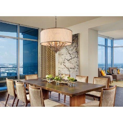 Suspendu bronze argenté avec abat-jour en lin crème Royaume - modele de salle a manger design