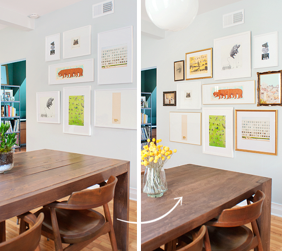 Loving This Dining Room Gallery Wall Update By Perfect Mix Of Large Framed Art Pieces Great White Frames And Classic Gold