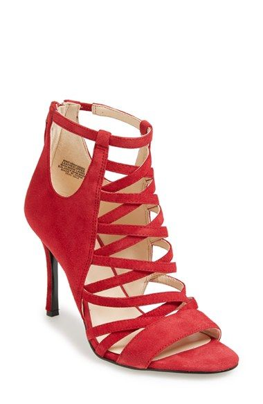 red leather strappy heels