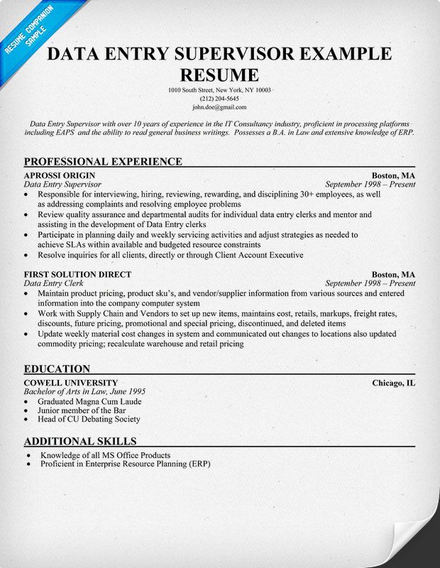 Data Entry Supervisor Resume (resumecompanion) Resume - resume data entry