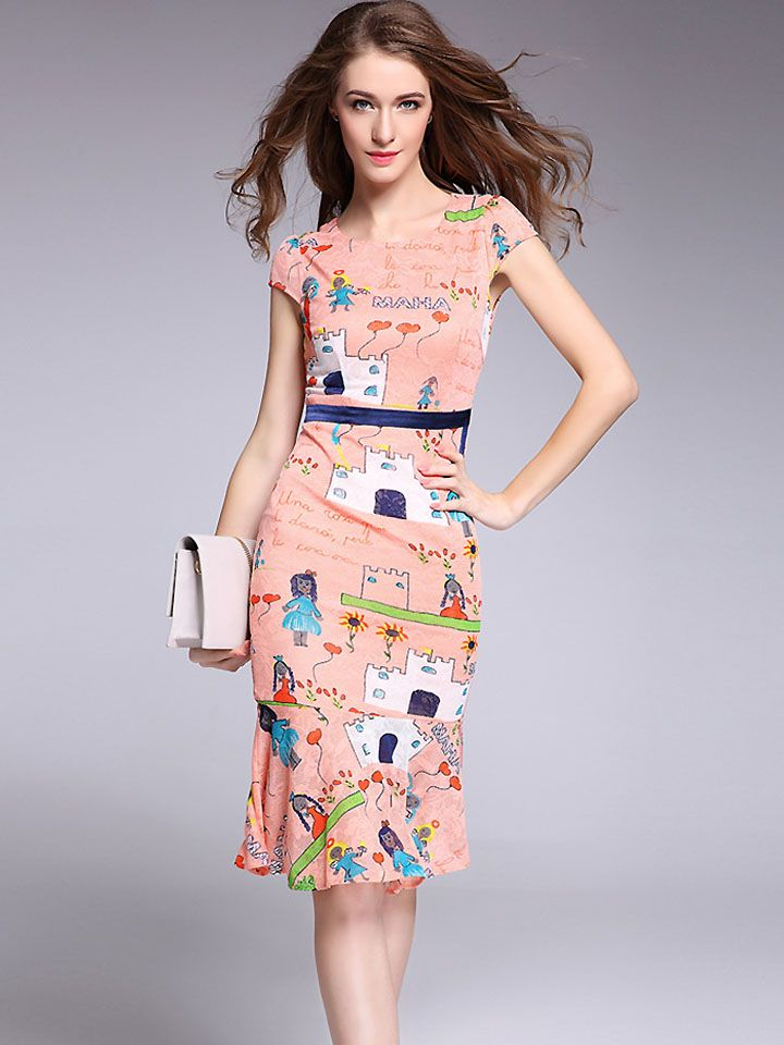 Cute O-Neck Sleeveless Cartoon Print Slim Skinny Dress from DressSure.com   dresssure  fashion  dresses  HighQuality b3af5142f