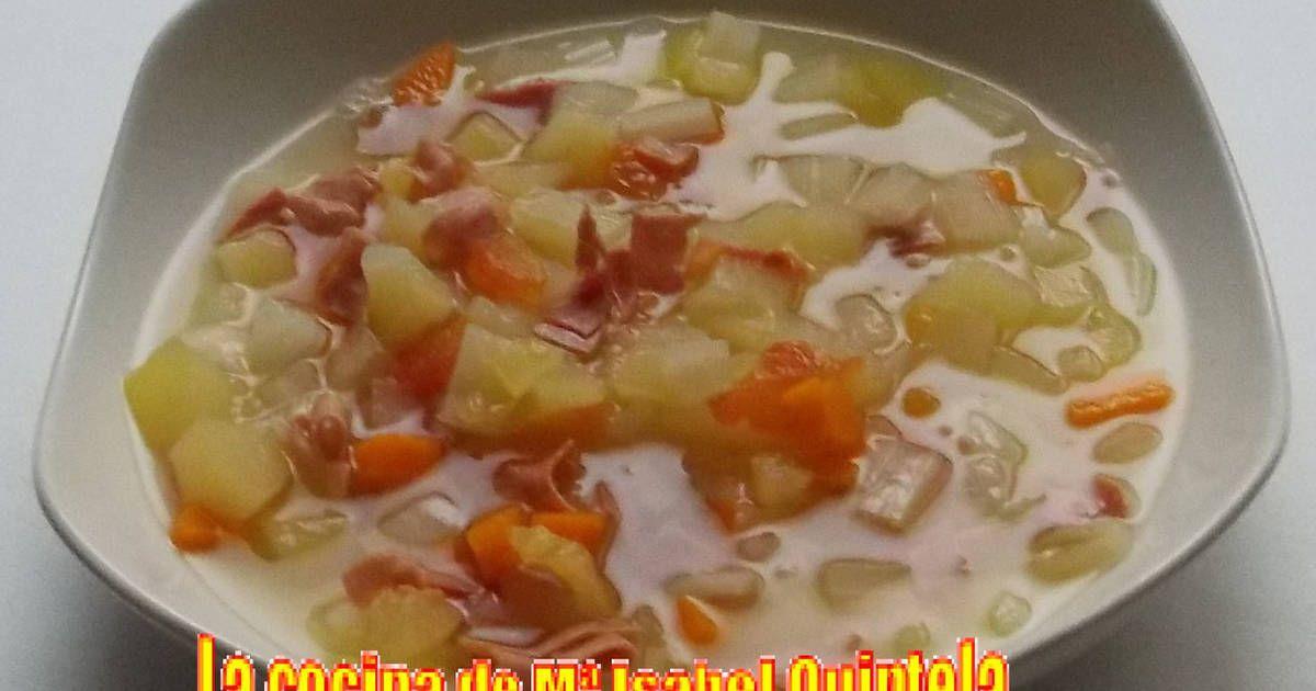 Fabulosa receta para Sopa de verduras y bacon. Como apetece una sopa caliente en…