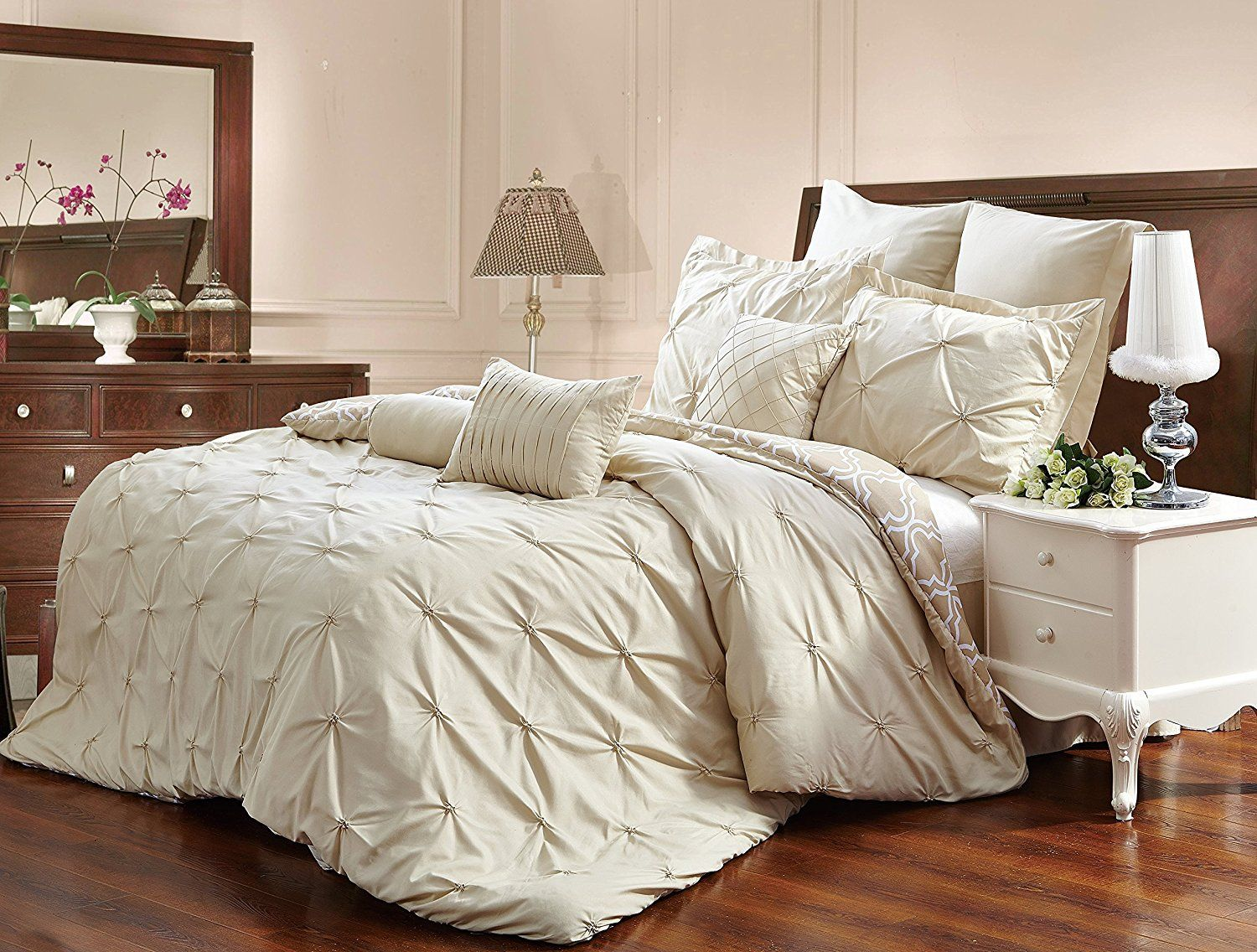 pinch pinched lined home queen product set pintuck josepha piece comforter and chic pleated ruffled sherpa grey pleat