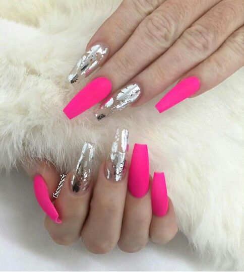 Hot Pink And Silver Coffin Nails With Images Pink Foil Nails