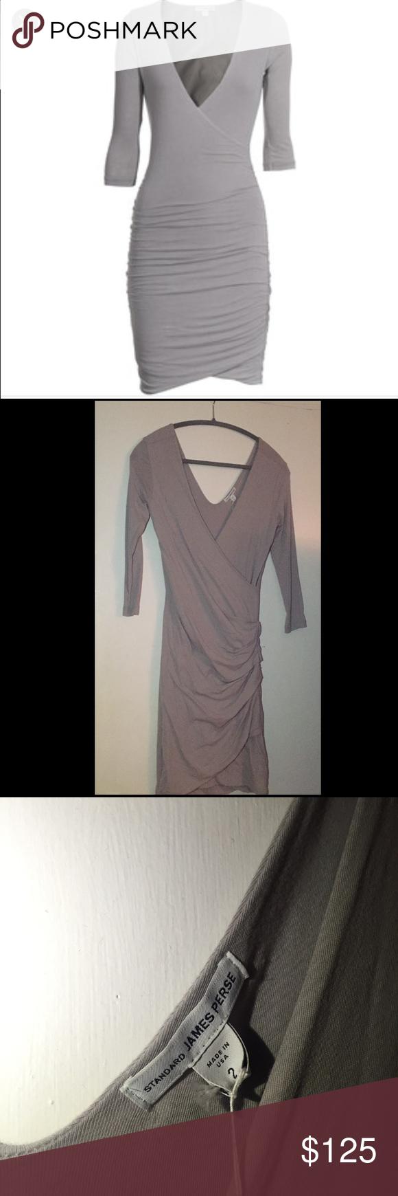 James Perse grey wrap dress Never worn, new with tags, fog grey James Perse dress James Perse Dresses Mini