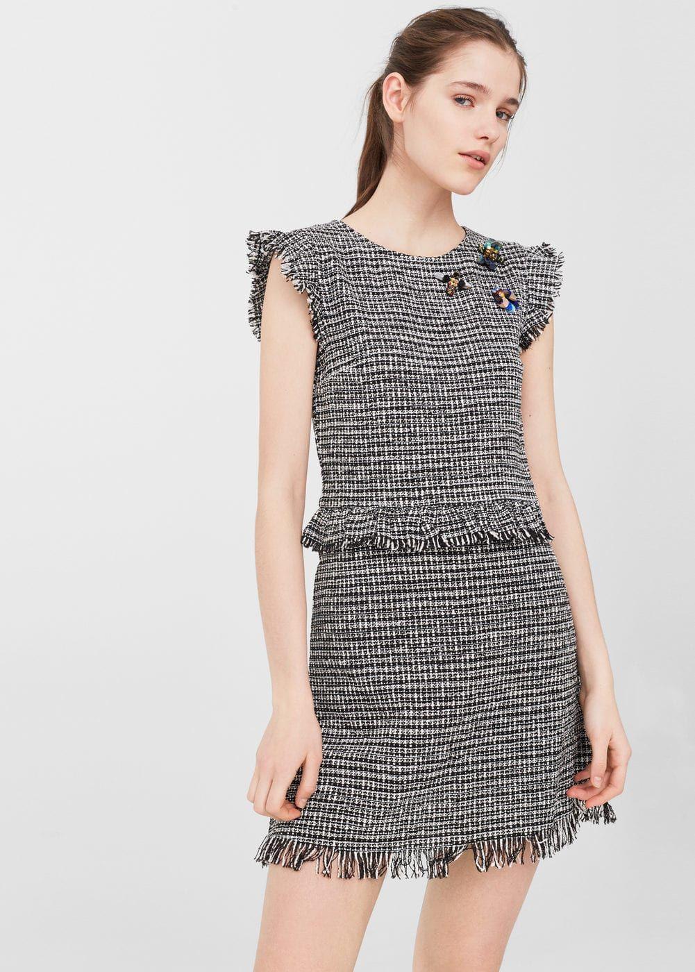 Vestido tweed abalorios - Mujer en 2019  a00070038803