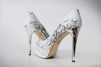 White Custom Wedding Shoes With Silver Heels Teaser