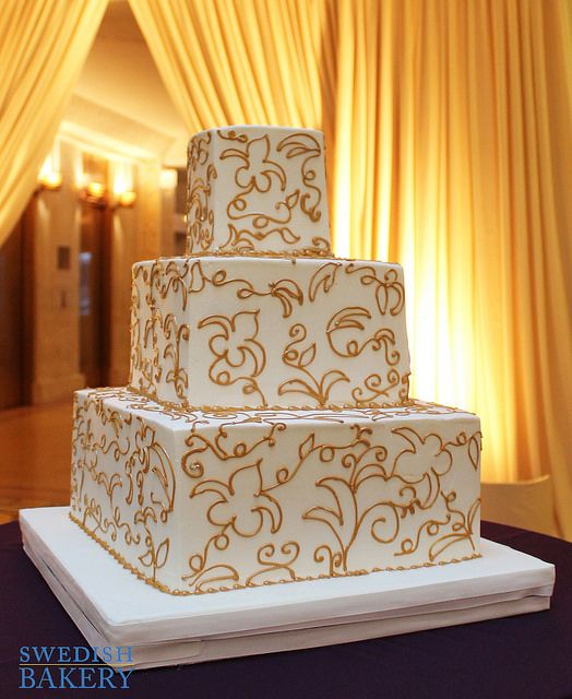 Gold Floral Scrolls Wedding Cake