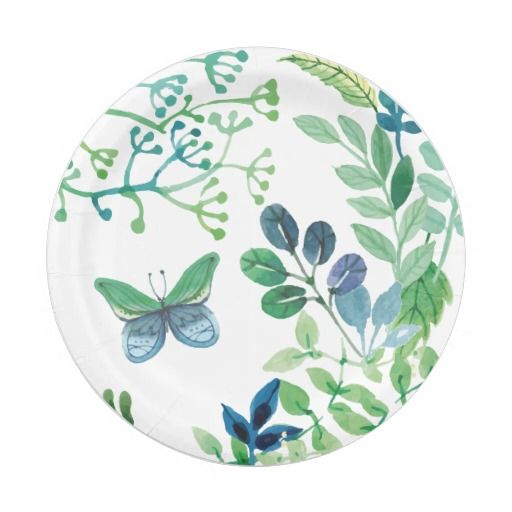 Watercolor Leaves and Butterflies Jungle Paper Plate  sc 1 st  Pinterest & Watercolor Leaves and Butterflies Jungle Paper Plate | Watercolor ...