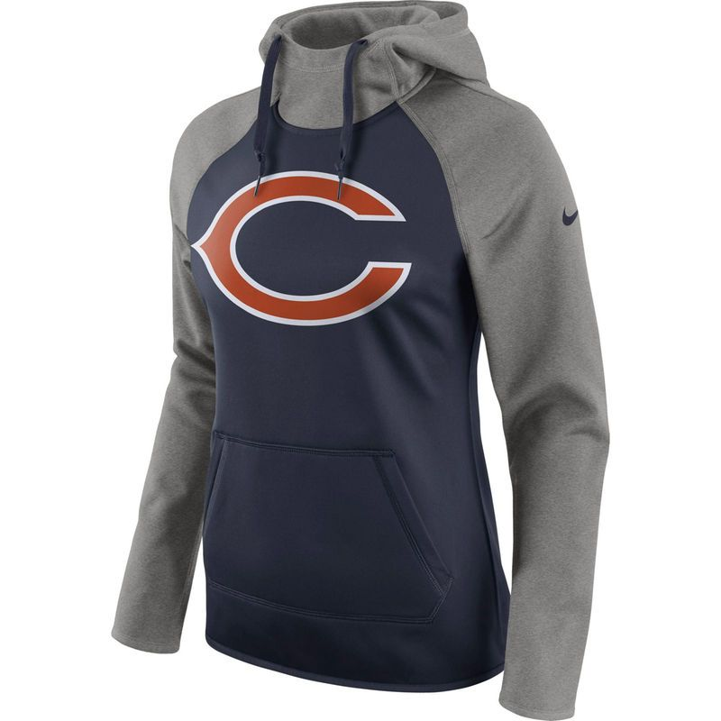 Chicago Bears Nike Women s All Time Raglan Pullover Performance Hoodie -  Navy Heathered Gray 1970191bfe